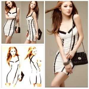 Dresses & Skirts - White and black striped evening dress bought on PM