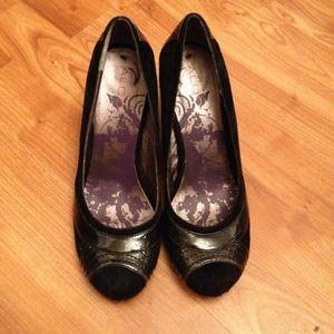 NWOB Aldo Black Suede Wedge Shoe