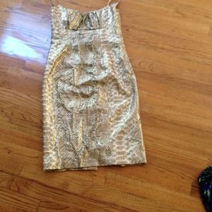 Tracy Reese metallic 100% silk gold tone dress
