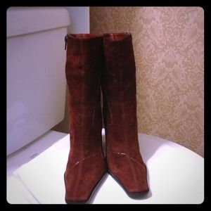 Nine West Chestnut Suede Ankle Boots Sz 5.5