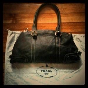 Prada black pebble leather handbag