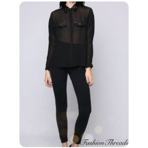 OUT OF STOCK New Chic Black Sequined Top