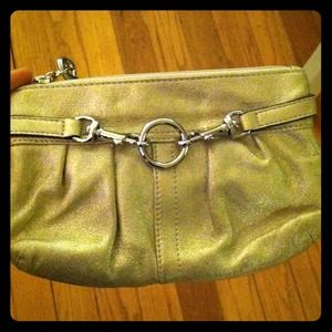 Coach metallic gold wristlet