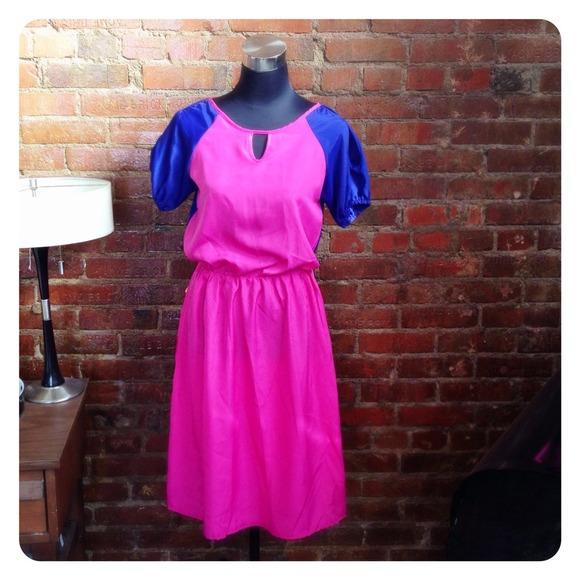 Dresses - HALF OFF SALE | Pink & Cobalt Dress