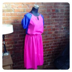 HALF OFF SALE | Pink & Cobalt Dress