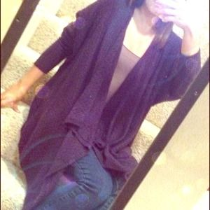 Forever 21 Sweaters - Eggplant Purple Knit Draped Sweater