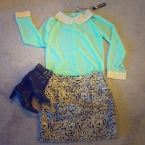 Poof Couture Tops - Reduced! Sheer mint top with Peter Pan collar