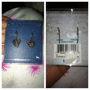 Jewelry - Dangle heart earrings sterling silver