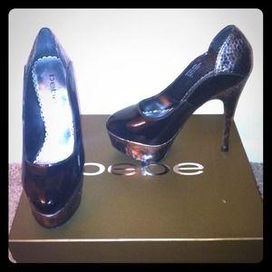Bebe Black Patent Leather Heels