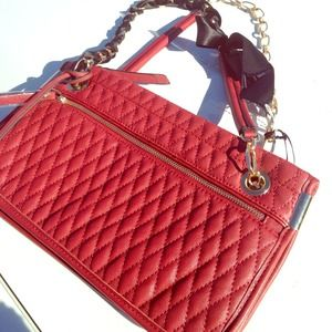Handbags - Red Gold Chain Black Ribbon Strap Quilted Handbag
