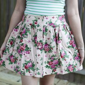 Beige and pink floral linen skirt