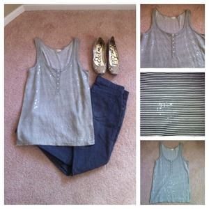 J Crew tank with stripes and sequin