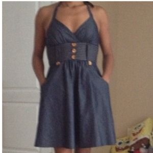 Dresses & Skirts - Denim Halter Dress with Pockets