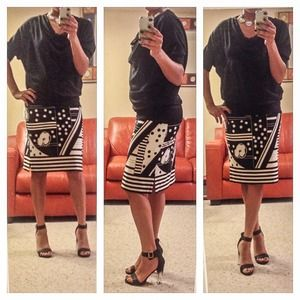BCBG MaxAzria Black and White Skirt