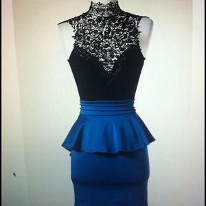 Dresses & Skirts - (SOLD OUT) - Royal Blue Lace Peplum Dress -