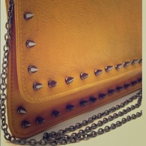 Handbags - Mustard Studded Clutch