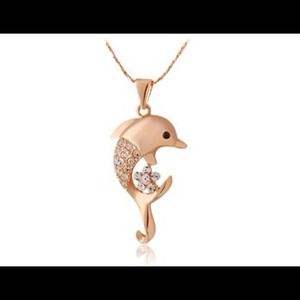 Jewelry - 18k GP dolphin necklace. New