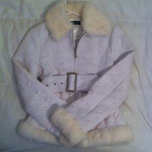 White Bebe Jacket with Fur Trim