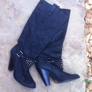 Zara Black Leather Studded Boot