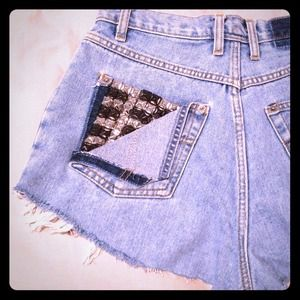 Studded, high waisted, denim shorts