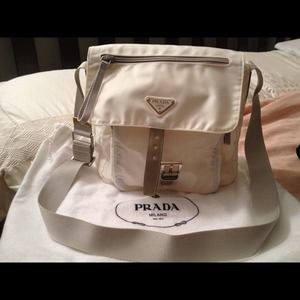 White Prada Messenger bag with pockets