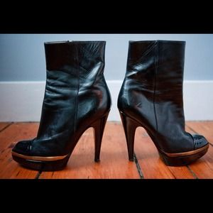 YSL Black Leather Ankle Boots