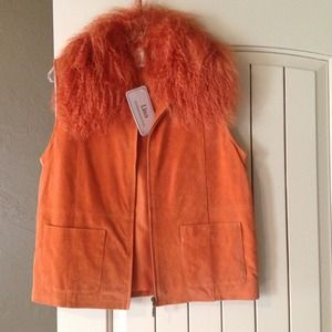 lisa Tops - Orange suede vest tan and pink vest bundled