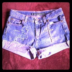 Denim - 💙SOLD💙Custom Purple Wash Studded Shorts
