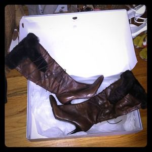Nine West Boots - Nine West 8.5 brown leather and fur tall boots