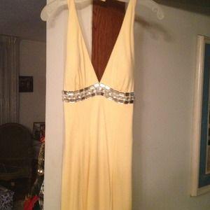 New listing:: yellow crystal long dress
