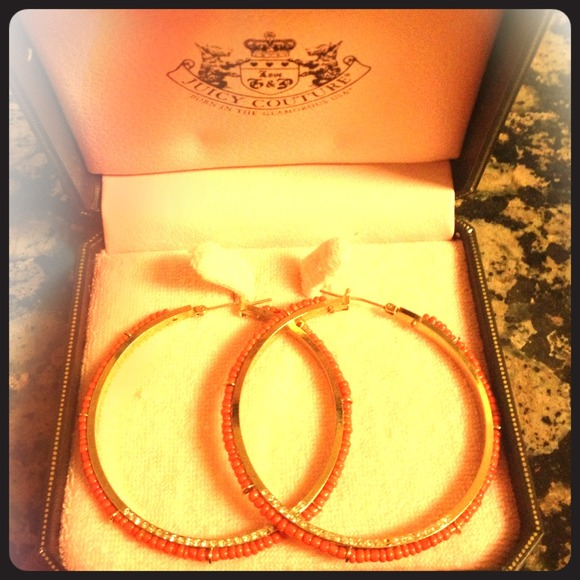 Juicy Couture Jewelry - New Coral Juicy Couture hoops!!!