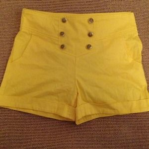 Yellow High-Waisted Shorts