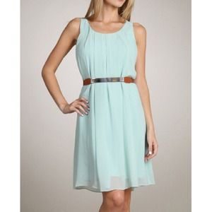 Dresses & Skirts - Mint Chiffon Dress w/ Belt