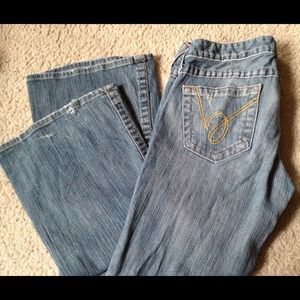 bebe Denim - RESRVE Bebe Blue Distressed Bootleg Jeans Denim 28