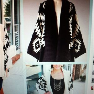 Outerwear - Black Aztec sweater.