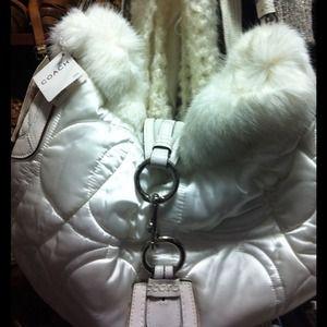 Auth Coach white rabbit fur. NWT $498. Make offer