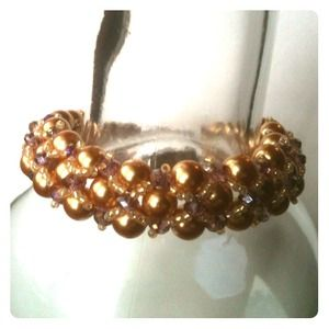 Jewelry - Hand-woven Pearl & Crystal Bracelet
