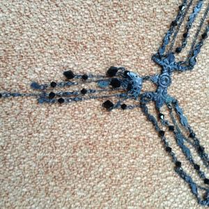 Victorian choker with black crystals