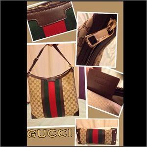 Authentic Gucci Vintage Web Medium Hobo