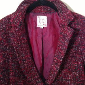Nanette Lepore Burgundy Tweed Blazer