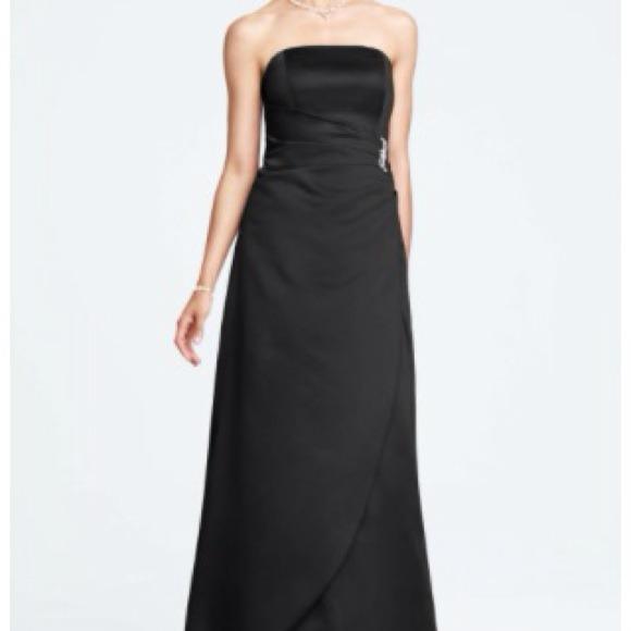 David's Bridal black satin Formal dress