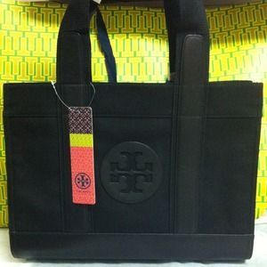 Tory Burch canvas with Leather Trim shopper tote.