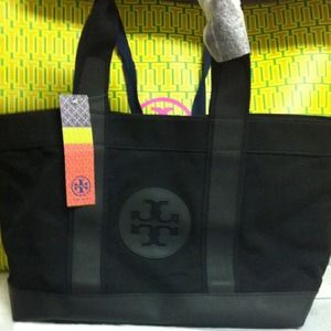 Tory Burch canvas shopper tote. NWT! Black!