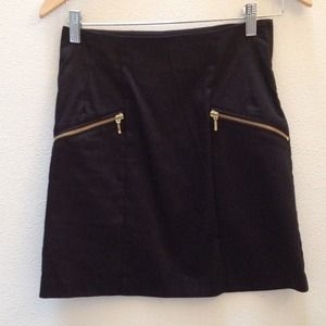 H&M Black Skirt with Gold Zippered Pockets