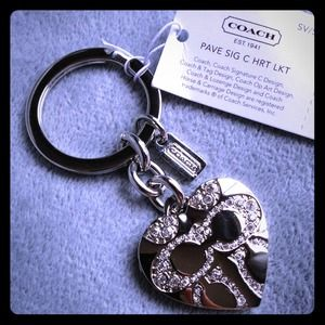 Coach Accessories - Coach Pave Signature 💗 Locket Key Chain F92416