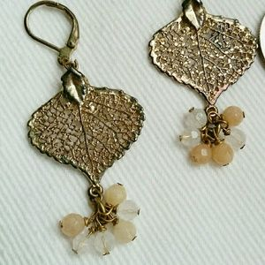 Gold-toned Leaf Dangle Earrings