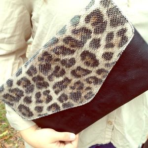 Clutches & Wallets - Snake print envelope clutch