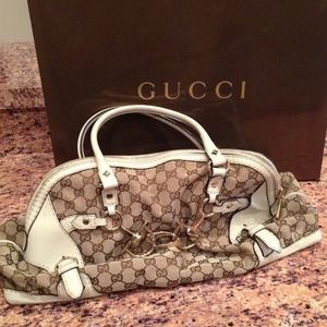 Pre-owned Gucci Horsebit nail medium Boston bag