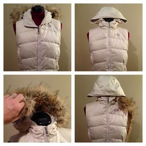 North Face Jackets & Blazers - The North Face oatmeal colored vest w/hood