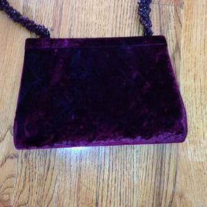 Handbags - Burgundy velour bag with crystal beaded strap